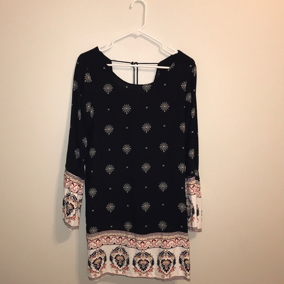 Dresses & Skirts - Navy, long sleeved dress with flared sleeves.